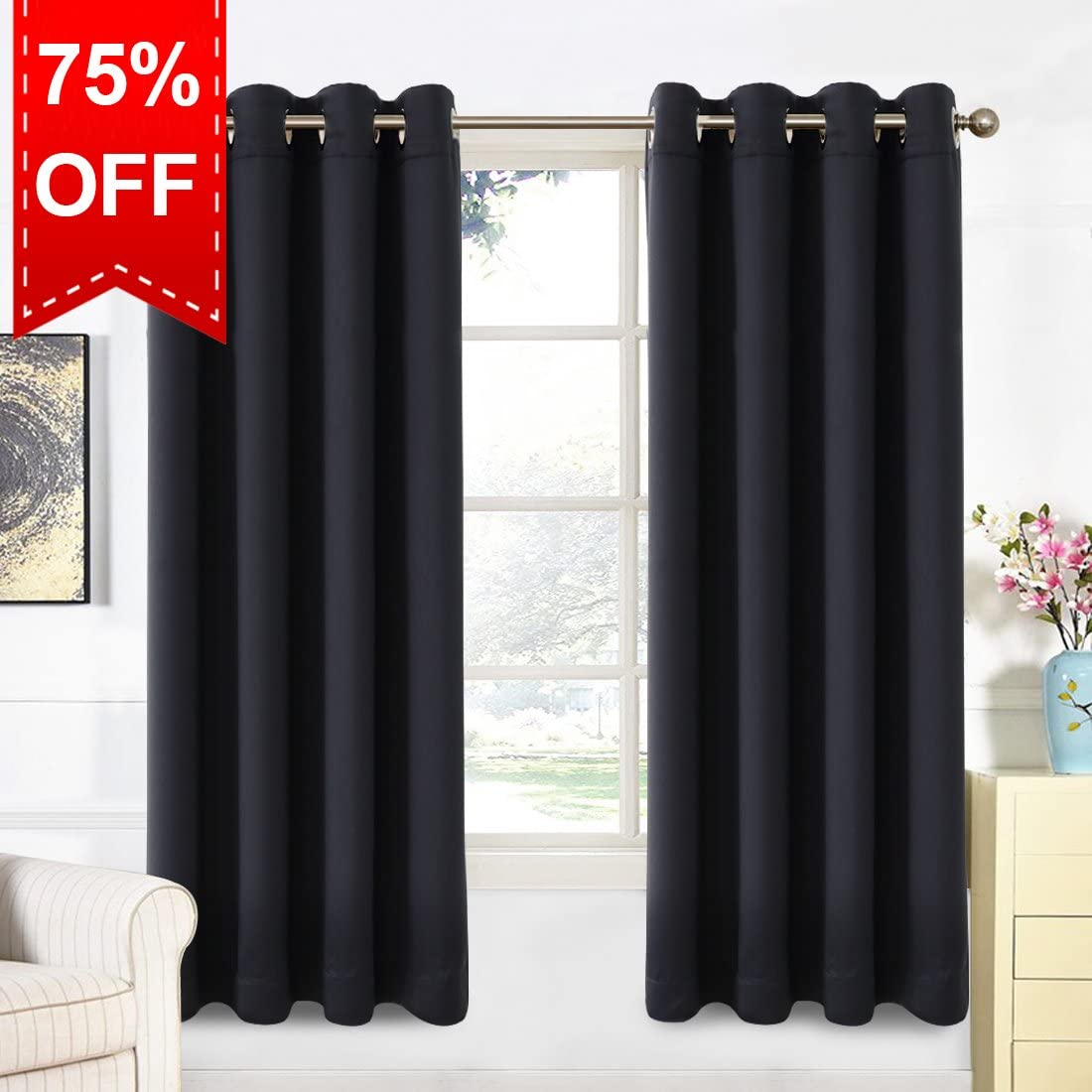 Dark Grey, W46 x L54 Warm Harbor 2 Panels Blackout Curtains Soft Thermal Insulated Window Treatment for Bedroom Livingroom Eyelet Blackout Curtains
