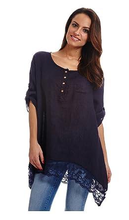 Merveilleux Couleur Lin Long Sleeve Tunic AVENIO   Woman   14   Blue: Amazon.co.uk:  Clothing