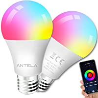 ANTELA Smart dimbare LED lamp E27 9W 806 lm WiFi-Ledlamp RGB+2700-6500K, 15000 branduren mee, 2 pack