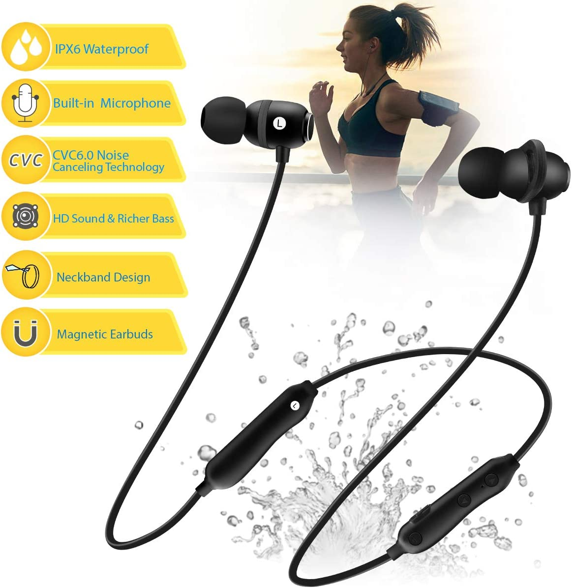 Bluetooth Headphones 5.0 Wireless Earbuds IPX6 Waterproof Magnetic with Stereo Bass, 8 Hours Play Time,Noise Cancelling Sweatproof Sport in-Ear Earphones for Running Workout Gym