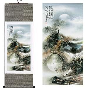 """Dinastía Tang (TM) seda chino pintura paisaje casa decorar para colgar de desplazamiento caligrafía arte regalo (40""""x W12) 031"""