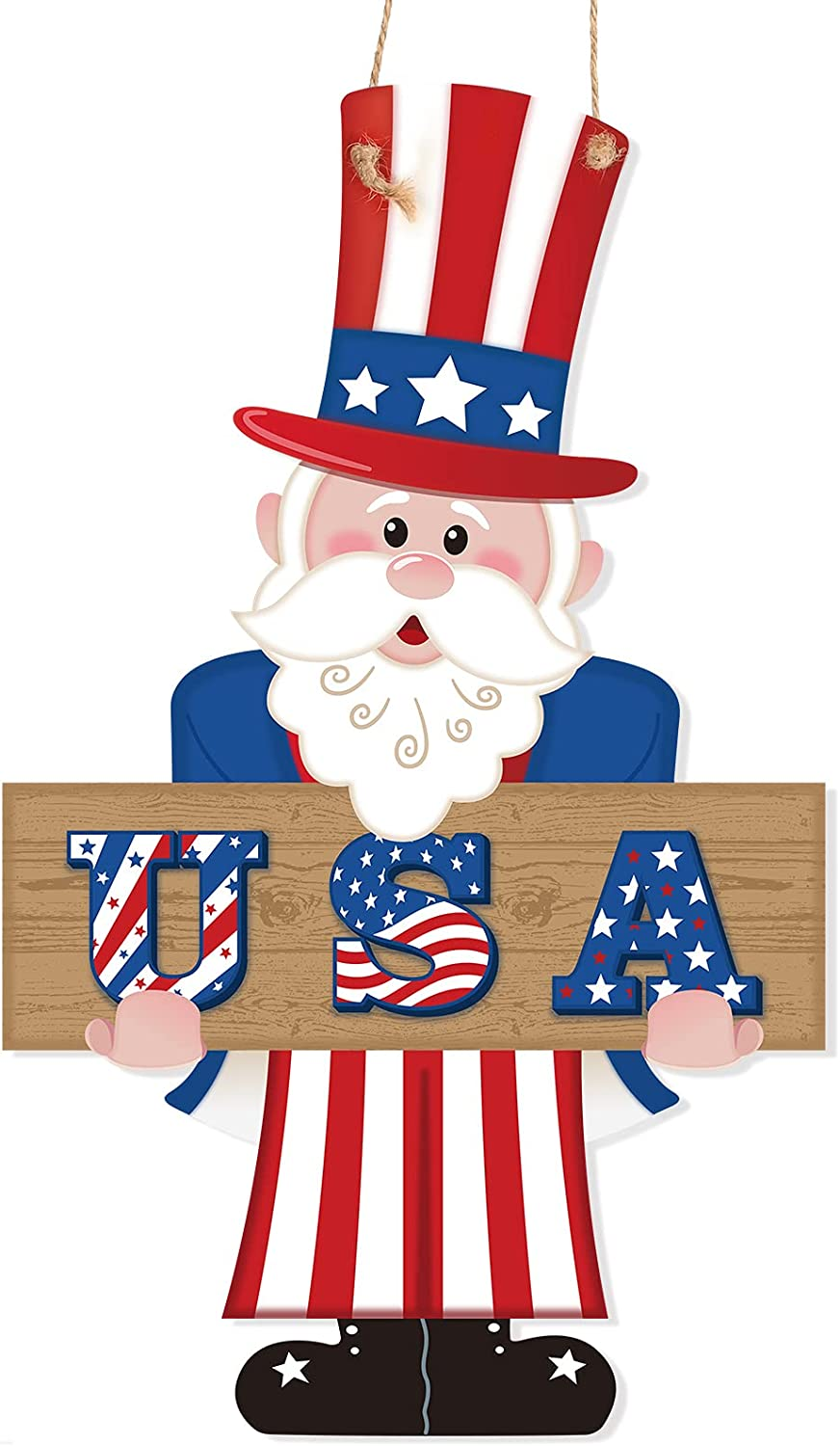 Jetec 4th of July Hanging Sign Uncle Sam USA Patriotic Wooden Door Sign Uncle Sam Memorial Day Wall Sign Yard Indoor Outdoor Garden Decoration with Rope, 13.6 x 8.3 Inch