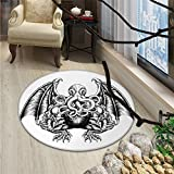 Kraken small round rug Carpet Cthulhu Monster Evil Fictional Cosmic Monster in Woodblock Style Illustration PrintOriental Floor and Carpets Black White