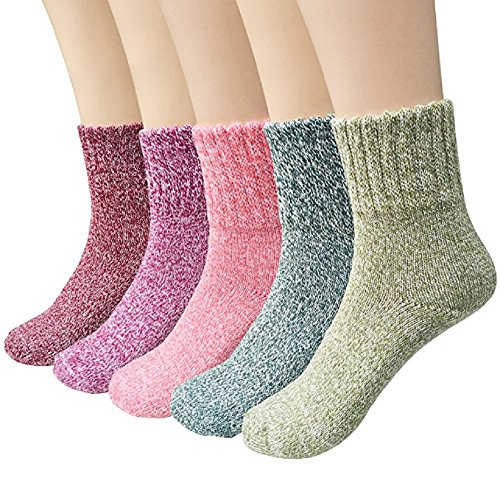 Winter Socks 5 Pairs, Vintage Style Chunky Knit Wool Cashmere, Thick Warm Soft Solid Casual Sports Socks (Mix of pure colors) Chunky Knit Boot