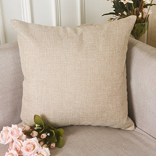 HOME BRILLIANT Decoration Linen Burlap Decor Square Throw Cushion Cover Pillow Sham for Living Room, Light Linen, 18x18 Inches Beige Pillow
