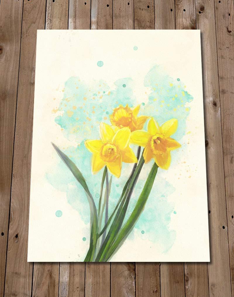 Spring Flower Art Painting Flat Print Watercolour Style Daffodil Art Print Independent Artist Amazon Co Uk Handmade