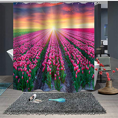 Maxwelly Tulip Shower Curtain Flower Sea Bathroom Shower Curtain Set with Hooks for Home Decoration - Polyester Water Resistant 72-Inch by 72-Inch