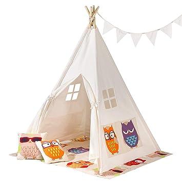 f612aad9 SONGMICS Tienda para Niños, Carpa Infantil, Tipi de Juegos Portátil con  Ventana, Almohadas, Banderas Decorativas, Bolsa de Transporte, para 3 Niños  LTP01WO: ...