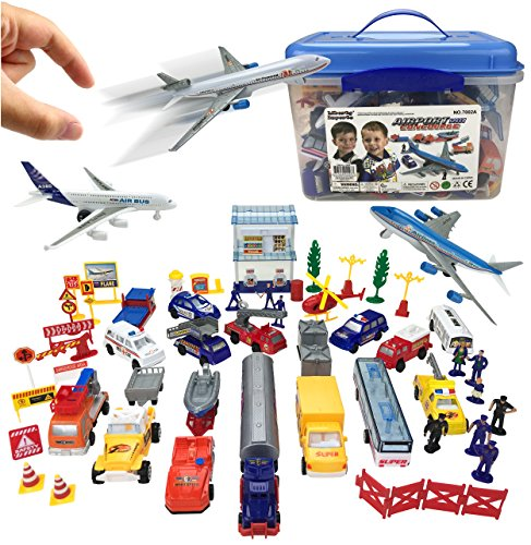 Deluxe 57-Piece Kids Airport Playset in Storage Bucket with Toy Airplanes, Play Vehicles, Police Figures, and - Toy Airport