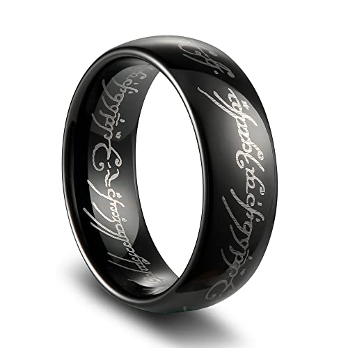 LORD OF THE RINGS High Polish Black Plated Tungsten Carbide Ring 7MM BRX0fIGO