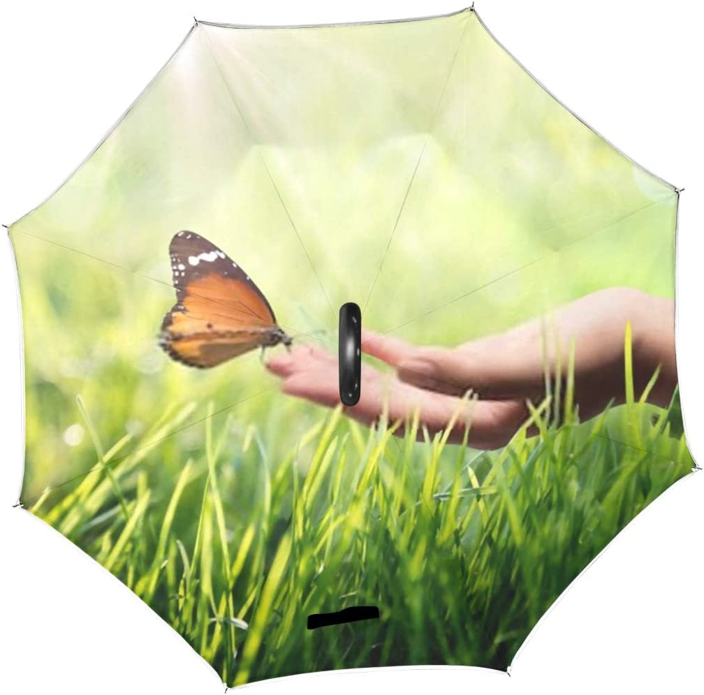 Double Layer Inverted Inverted Umbrella Is Light And Sturdy Butterfly Hand On Grass Reverse Umbrella And Windproof Umbrella Edge Night Reflection