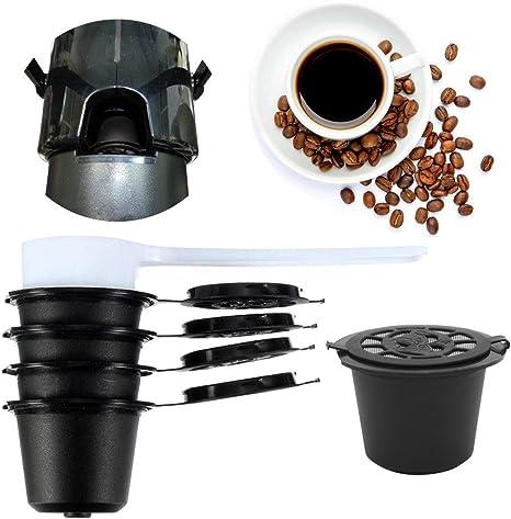 CMrtew 4 piezas recargables reutilizables de recambio cápsulas de café cápsulas de filtro adaptador de soporte para máquina Nespresso color café: Amazon.es: Juguetes y juegos