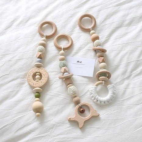 Mamimami Home 3pc Bebé de madera mordedor animales Donut sonajero masticables cuentas de silicona jugar gimnasio
