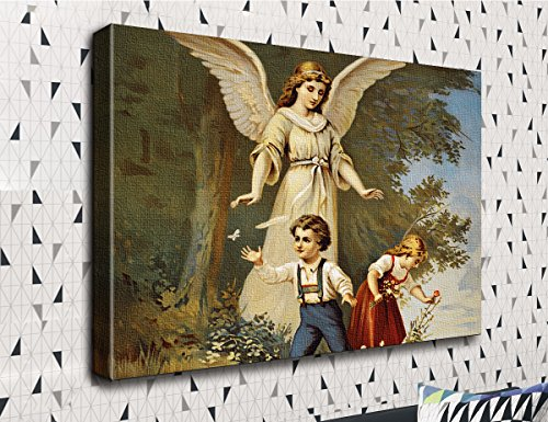 COLORSFORU Guardian Angel With Children Beautiful Scene Custom Canvas Print 20x16 Inch Framed Home Decor Wall Art Painting Canvas Poster Oil