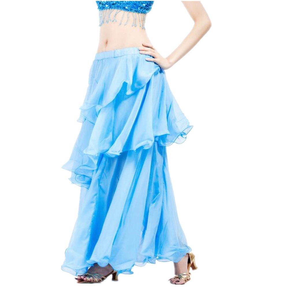 ZYZF Belly Dance Tribal Skirt Chiffon Hemming Long Maxi Skirt Halloween 20160728106