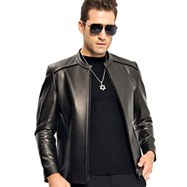f0f5bb0b6512 LINAILIN Genuine Leather Jacket Men O Neck Sheepskin Coat Short Casual  Outerwear at Amazon Men s Clothing store