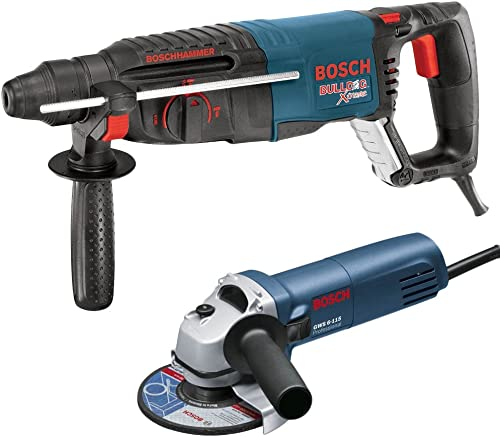 Bosch 11255VSR-GWS8 1 SDS-plus Bulldog Xtreme Rotary Hammer with 4-1 2 Small Angle Grinder, Blue