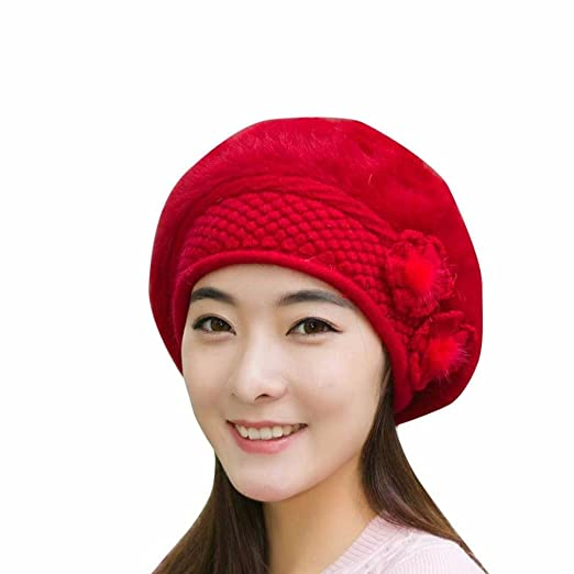 1767351e349 Jushye Clearance Womens Ladies Fashion Flower Knit Crochet Beanie Hats  Winter Warm Cap Beret (A