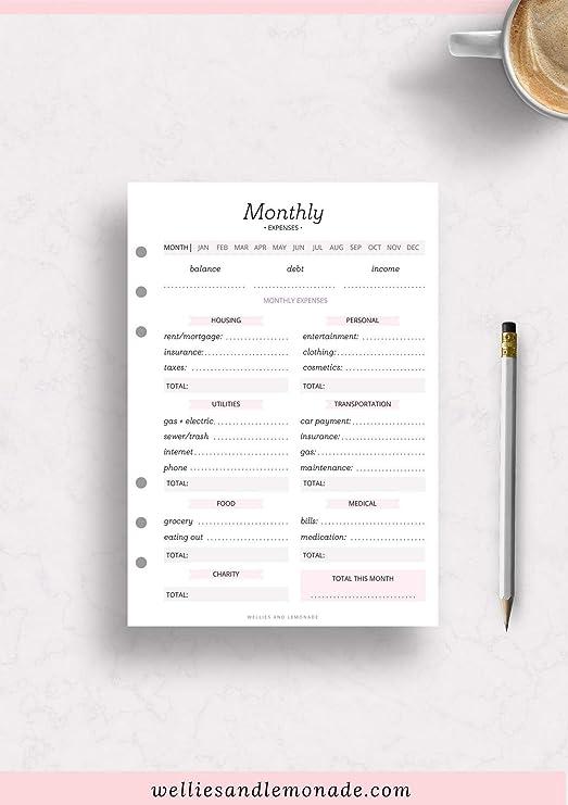 12 meses - 6 páginas, planificador financiero, rastreador de ...