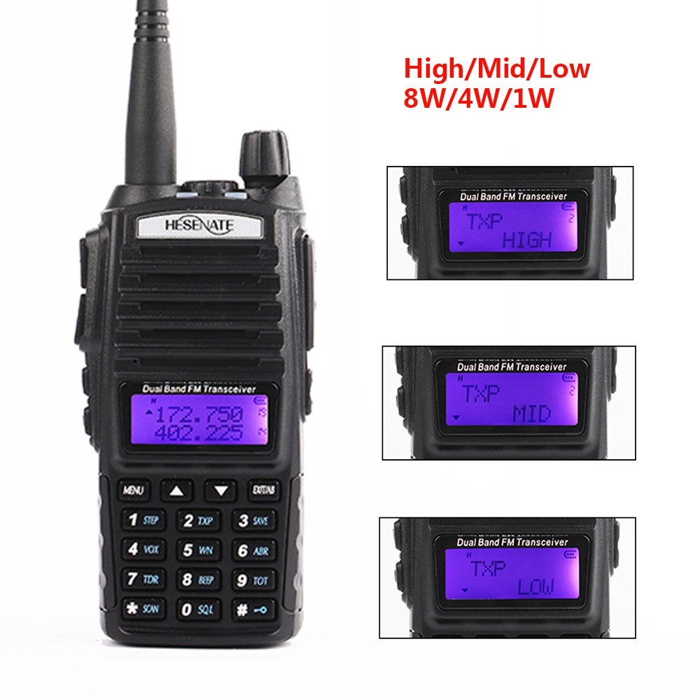 HESENATE HT-UV82X High Power 8-Watt Portable Radio Triple Power Output 8/4/1 Watt Dual Band 2M/70CM Amateur 2-way Radio Walkie Talkie (HAM)