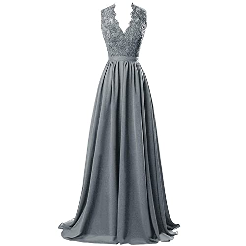 MARSEN Womens Modest V Neck Open Back Chiffon Long Evening Gown with Lace