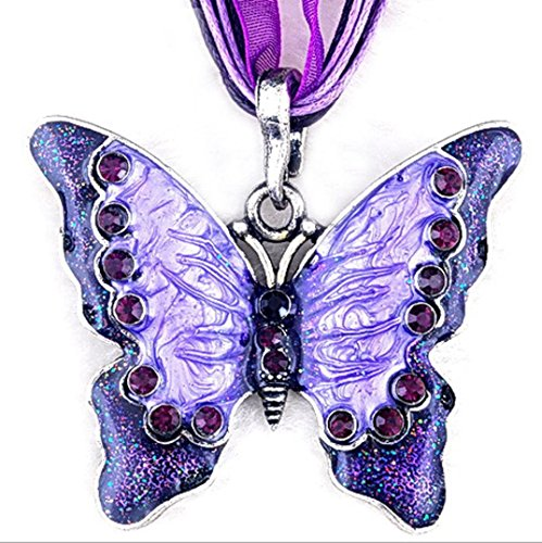 Botrong Women Fashion Jewelry Butterfly Pendant Necklace Chain (Purple)