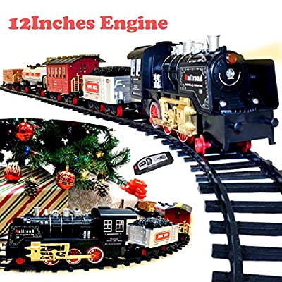 JOYIN Holiday Electric Premium Train Set (Big Train, 12' Engine) with Lights, Sounds and Remote Control 5 Train Cars and Tracks Toy, Xmas Tree Decor, Indoor Decoration.: Toys & Games