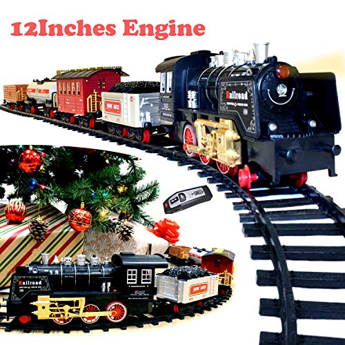 ic Premium Train Set (Big Train, 12' Engine) with Lights, Sounds and Remote Control 5 Train Cars and Tracks Toy, Xmas Tree Decor, Indoor Decoration. ()