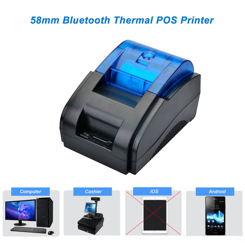 Scangle 58MM USB+Bluetooth Wireless POS Thermal Receipt Printer, Printing Speed:90mm/Sec- Bluetooth only Works on Android (58mm Thermal Receipt ...
