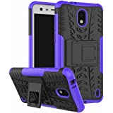Nokia 2 Case,Mustaner Dual Layer Shock-Absorption Armor Cover Full-body Protective Case with Kickstand Combo PC+TPU Back for Nokia 2 (Purple)