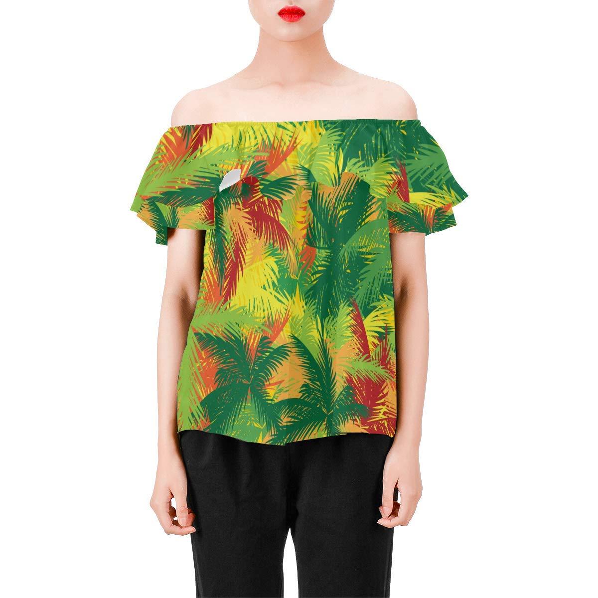 Tropical Floral Print Womens A-Line Chiffon Blouse Shirt Tops
