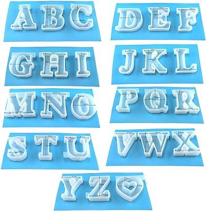 We Whll 6cm 2 4 Stampi Per Lettere Grandi Fatti A Mano In Resina Di Silicone Con Lettere Inglesi Amazon It Casa E Cucina
