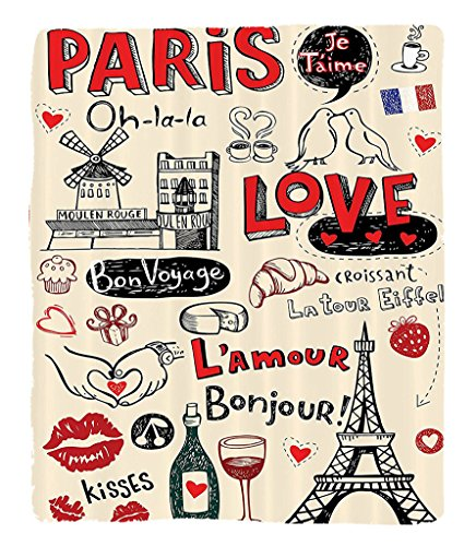 Chaoran 1 Fleece Blanket on Amazon Super Silky Soft All Season Super Plush Paris City Decor Collection Paris Love Doodles Coffee wine Glass Croissant Cheese Cupcake Kissketchy Art Image Fabric (Dc Cupcakes Halloween Recipes)