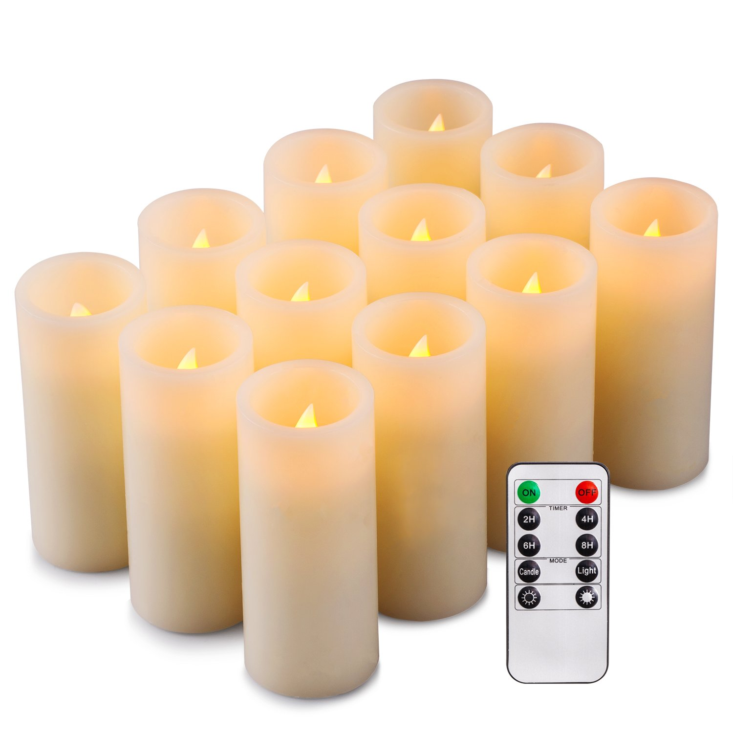 Onlyhome Flameless Candles, Flickering, Real Wax, Realistic Decor Unscented,10 Function Remote Timer - 12 Pack, Yellow Light