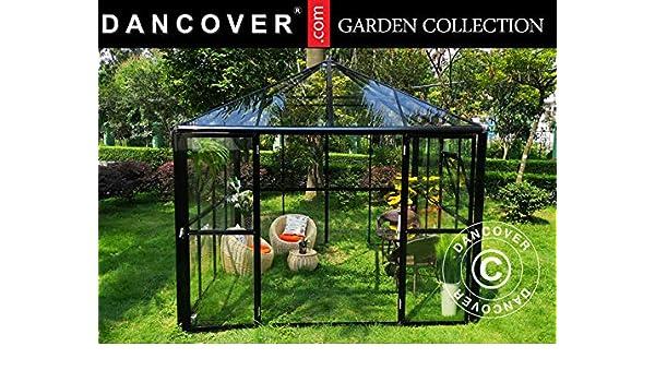 Dancover Orangerie/Cenador Cristal 8, 7m², 2, 95x2, 95x2, 7m, con Base, Negro: Amazon.es: Jardín