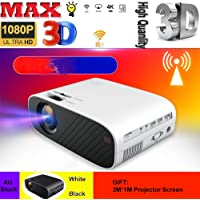"""18000Lumens Mini Projector HD Theatre Home Cinema with 176"""" Projection Size, 1080P Supported Video Projector, Compatible with HDMI, VGA, AV, USB for Home Theater, Outdoor Activities and More (Black)"""