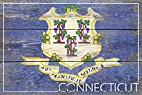 Connecticut State Flag - Barnwood Painting (12x18 Collectible Art Print, Wall Decor Travel Poster)