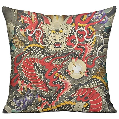 ART TANG Throw Pillow Cases Cushion Protector For Sofa Bedroom Car - Red Chinese Dragon Dragon Ball Artwork Pillow Covers - Inserts Are Not Included - 18