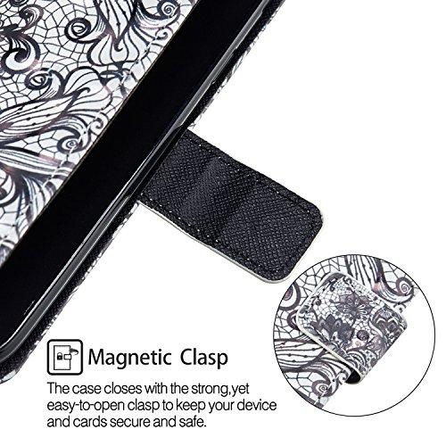 Edge Case Leather Flip Portefeuille Protector avec Cuir Coque Etui Samsung Swag pour Protection Couverture Fonction PU S7 Wallet de Etui Coque Housse de COZY Stand Coquille Cover noire Galaxy dentelle Fentes HUT Fleur et de RwqUXwnT
