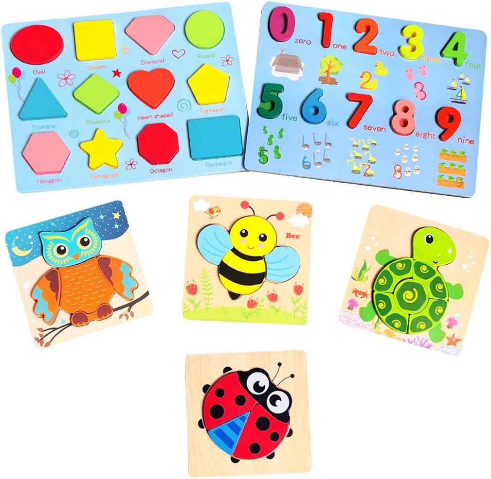 AiTuiTui Puzzle de Madera Montessori, 6 Set Rompecabezas de Madera con Forma/Números/Animales, Fine Motor Skill Juego de Juego Educativo temprano Juguetes para niños Niñas Regalo
