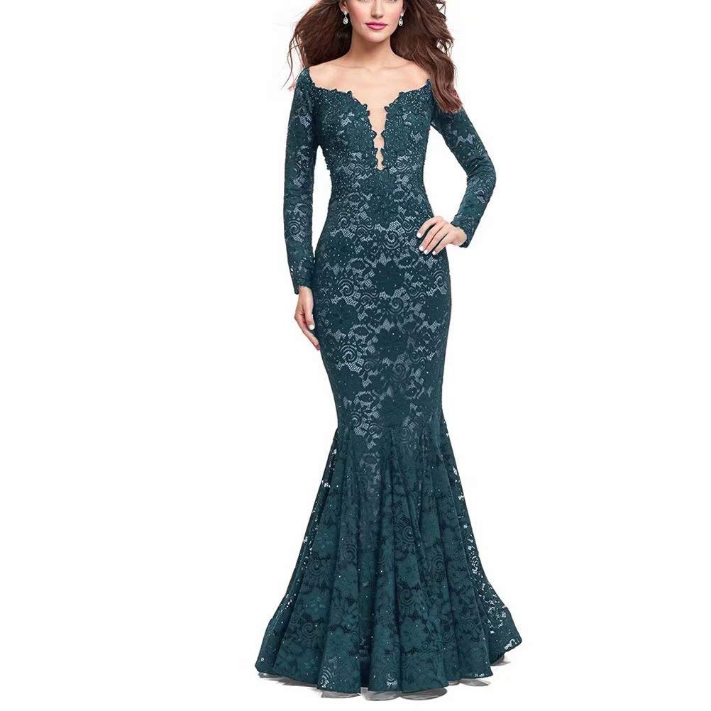 Dark Green Unions Women V Neck Lace Mermaid Prom Dresses Long Sleeve Beaded Formal Evening Gowns