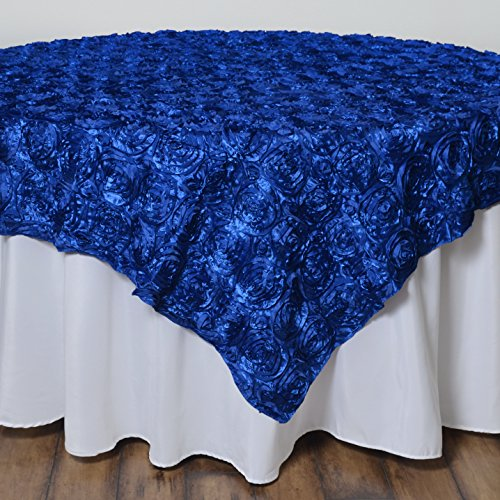 BalsaCircle 72x72-Inch Royal Blue Raised Roses Table Overlays - Wedding Reception Party Catering Table Linens Decorations