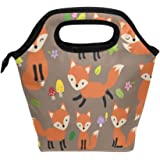Lunch Tote Bag Cute Fox Neoprene Insulated Cooler Warmer, Portable Funny Lunchbox Handbag for Men Women Adult Kids Boys Girls