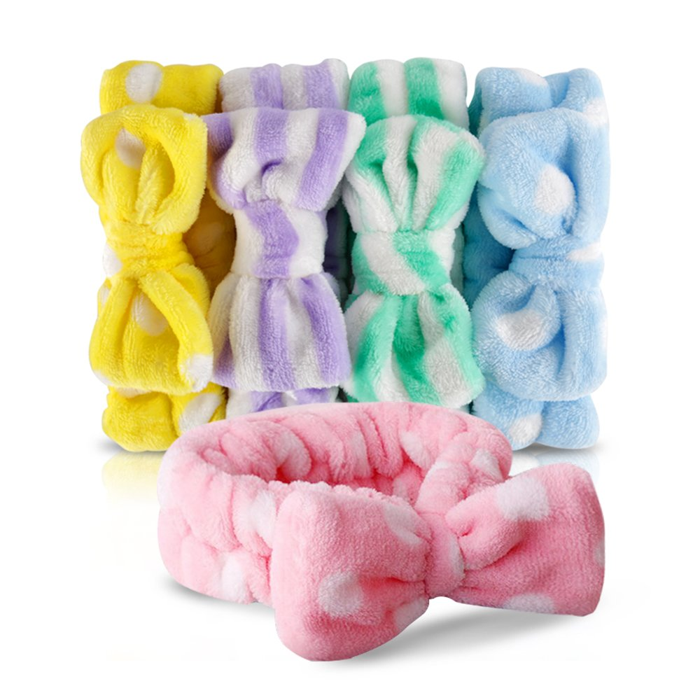 Bow HeadBands, Teenitor Women Headbands for Makeup Cosmetic Facial Shower Spa Elastic Hair Band Hairlace Headband for Baby girls Yellow Blue Green Purple Pink, 5pcs