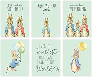 Andaz Press Peter Rabbit Theme Nursery Kids Bedroom Unframed Hanging Wall Art Poster Room Decor, 8.5x11-inch, Mint Green, First We Had Each Other Then You Now Everything, 6-Pack, No Frames