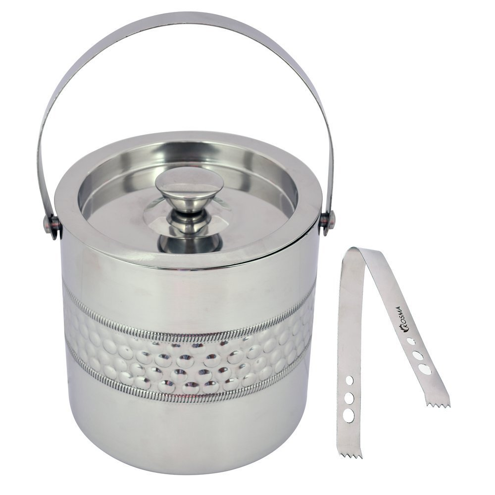 Kosma Double Wall Stainless Steel Ice bucket and Ice Tongs, 15 x 18cm – Ice Cube Bucket with Bubble Finish Perfect gifts for Thanksgiving, Christmas, Birthday, Wedding, Anniversary Montstar Global KG-22060
