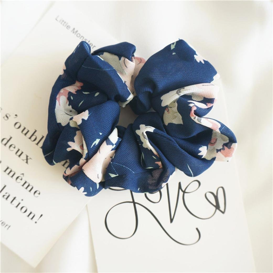 Amazon.com : IKevan Summer Floral Hair Scrunchies Bun Ring Elastic Fashion Sports Dance Scrunchie (Yellow) : Beauty