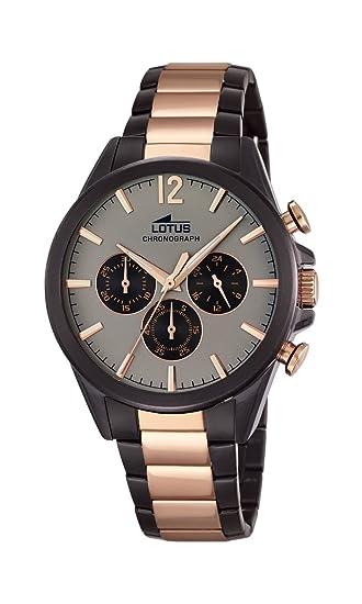 Lotus Reloj Infantil de Cuarzo para Hombre con Esfera Gris cronógrafo y Correa de Acero Inoxidable Dos Tonos 18196/1: LOTUS: Amazon.es: Relojes