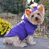 Fleece Lined Dog PET Hoodie Heavyweight Embroidered Sweatshirt Ultra Violet (XXL) For Sale