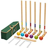 ApudArmis Six Player Croquet Set with Premiun Pine Wooden Mallets 28In,Colored Ball,Wickets,Stakes - Lawn Backyard Game Set f